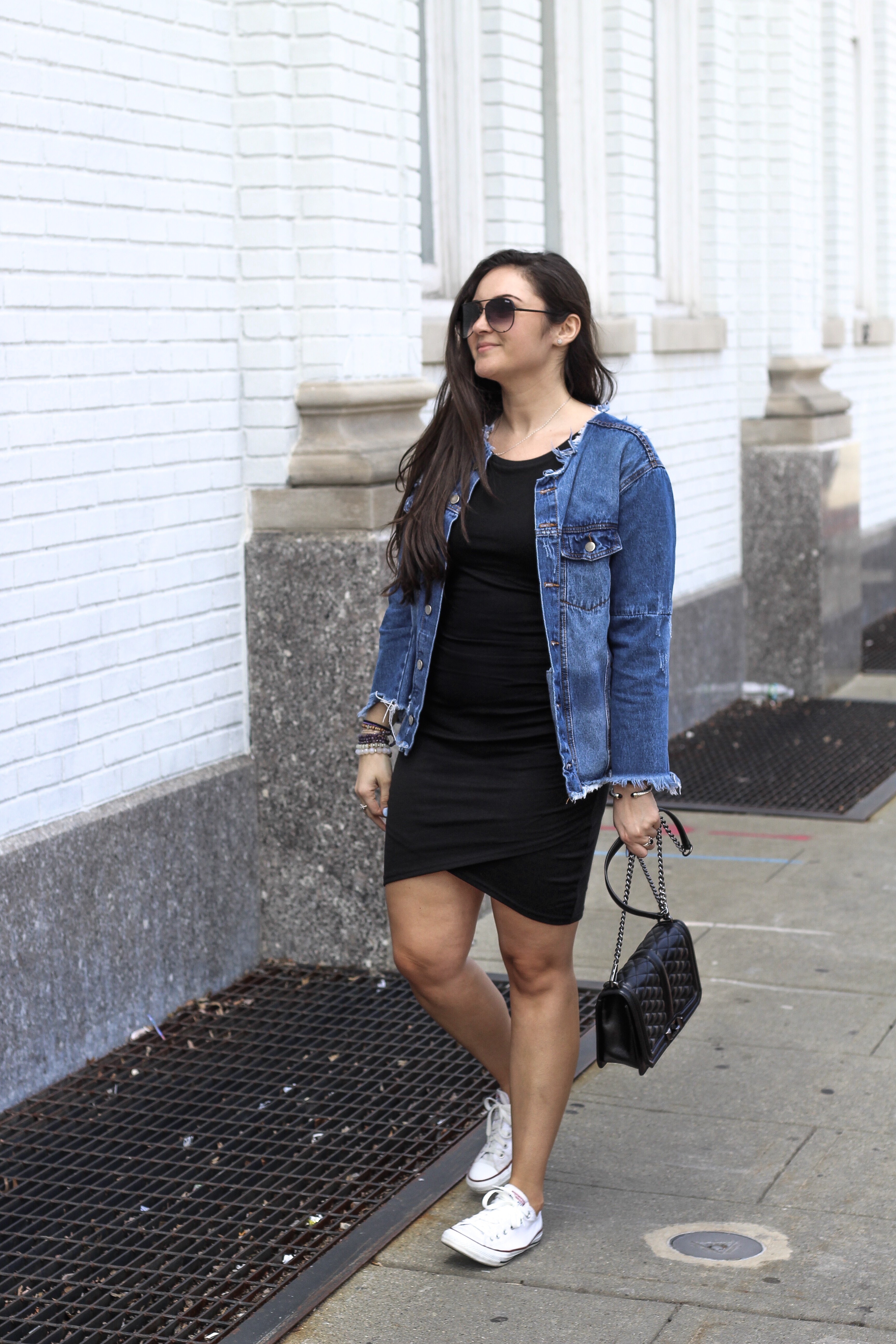 9e8da8f95ceb7 One of my favorite ways to style a little black dress is to dress it down  casually. I love sporting my over-loved converse (just a nice way to say  VERY used ...